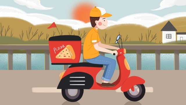 professional character takeaway brother take delivery car llustration image