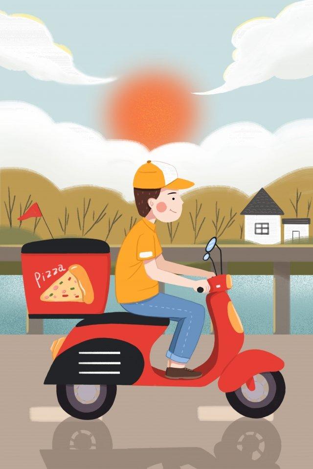professional character takeaway brother take delivery car llustration image illustration image