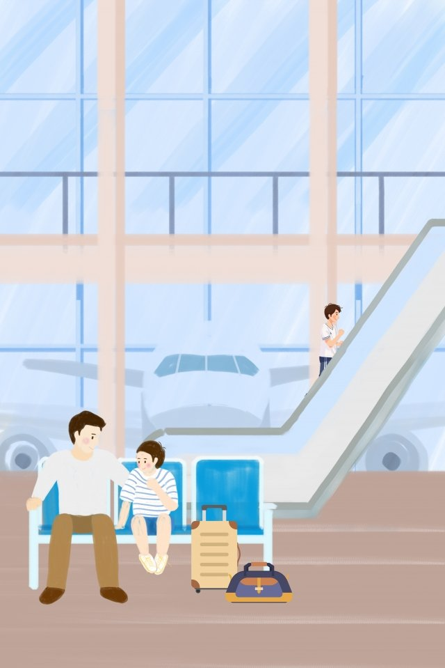 public transport airport wait for the plane father and son llustration image