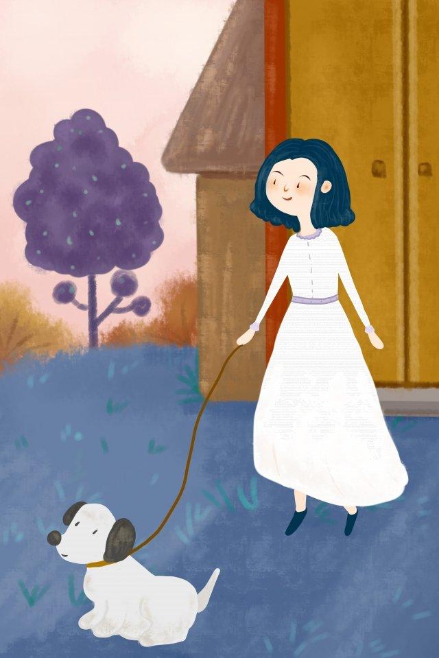 chó con đi dạo nhà chó Hình minh họa