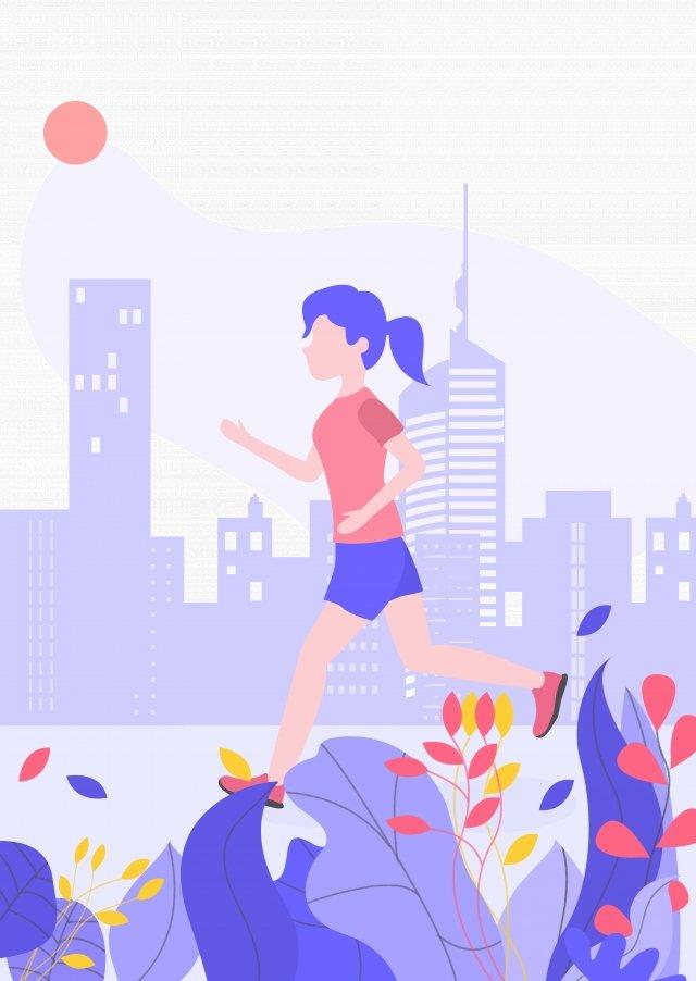 紫漫画シティフィットネス イラストレーション画像
