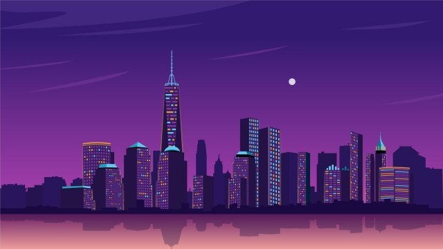purple gradient city night view, View, Landscape, Building illustration image
