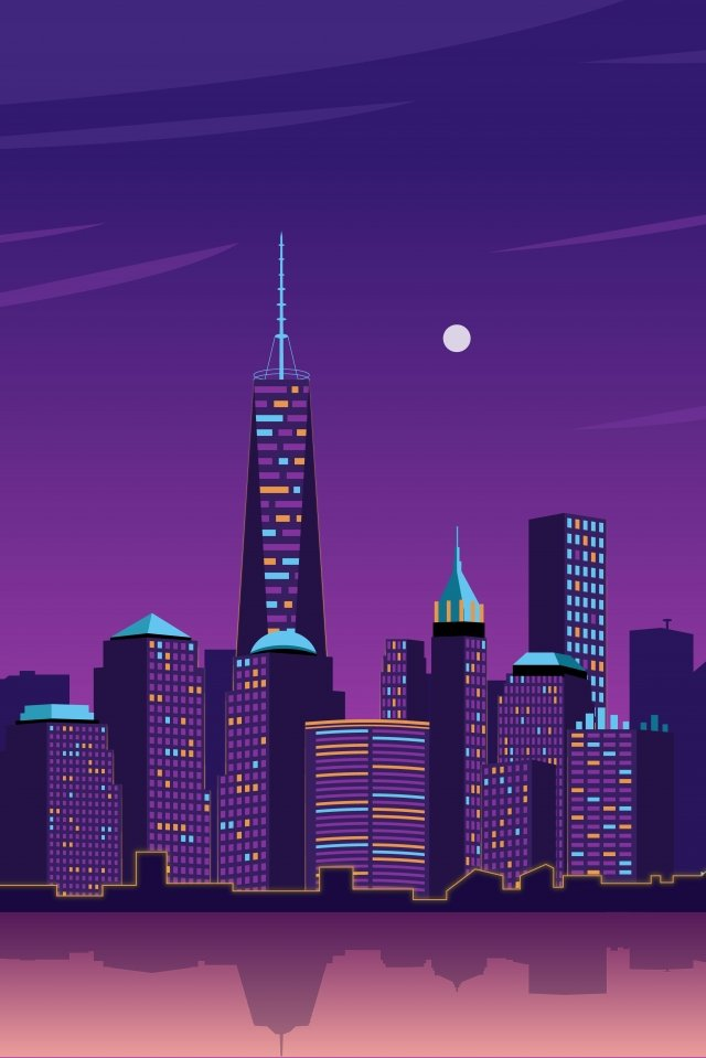purple gradient city night view, Night Sky, Illuminate, Moon illustration image