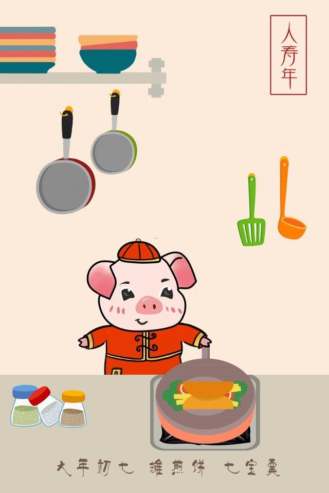 qibao making pancakes cooking kitchen llustration image