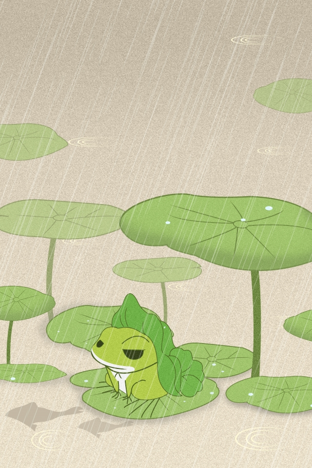 qingming 24 solar terms rain spring equinox, Horror, Beginning Of Spring, Frog illustration image