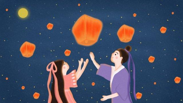 qixi祭りqi qiao祭りロマンチックな紫色 イラスト素材