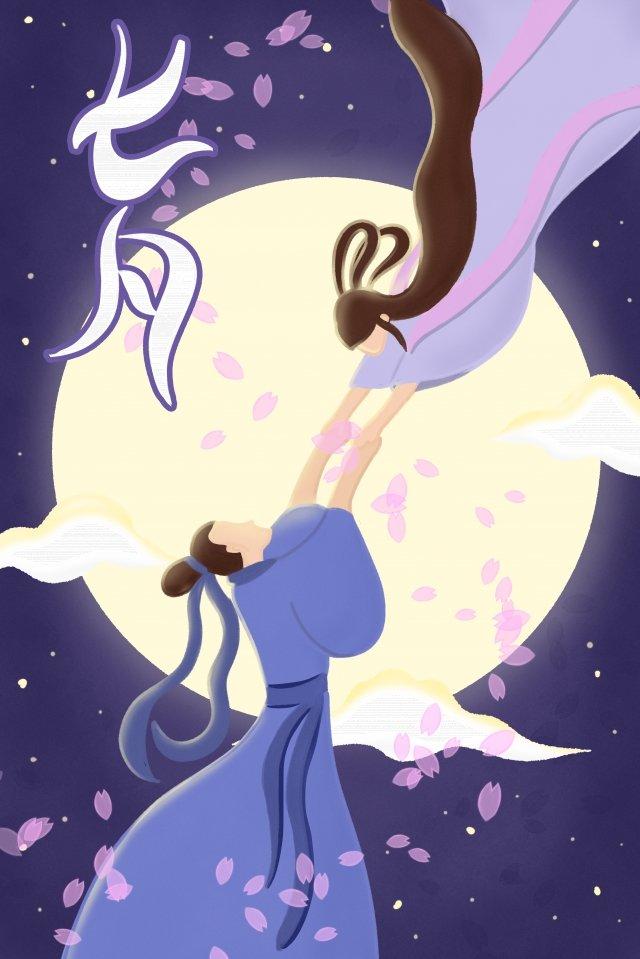 qixi festival qi qiao festival valentines day couple, Romantic, Purple, Love illustration image