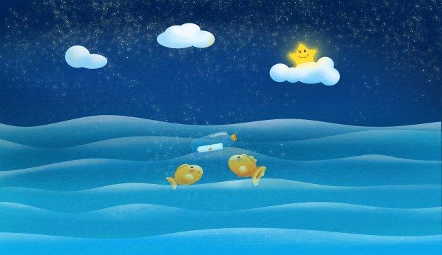 조용한 바다의 밤하늘 구름 삽화 소재