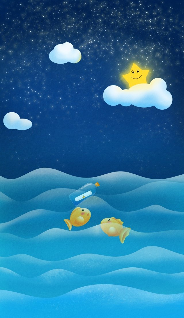 静かな海の夜空の星 イラスト素材