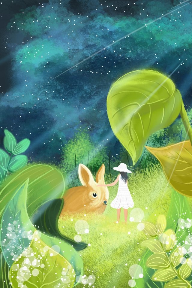 rabbit healing fresh hand painted, Illustration, Girl, Night illustration image