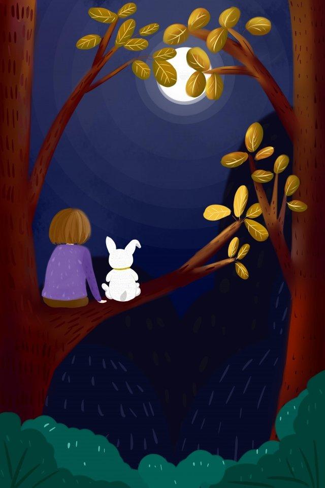 ウサギの月の女の子の木 イラスト素材
