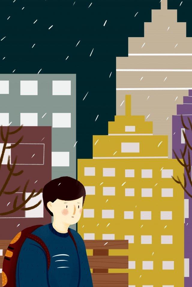 mưa thành phố cao tầng ánh sáng Hình minh họa