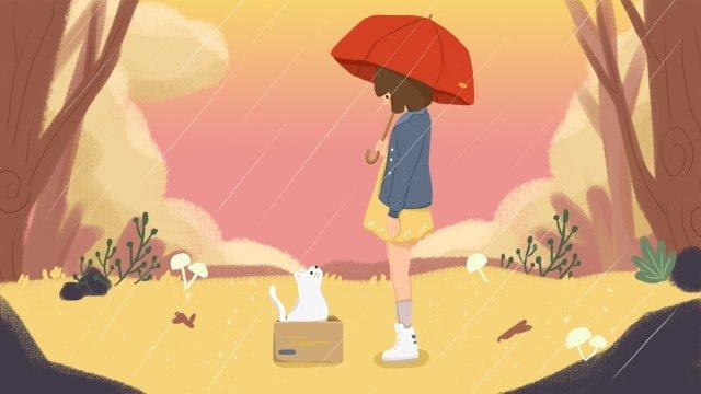 비 소녀 작은 빨간 우산 고양이 삽화 소재 삽화 이미지