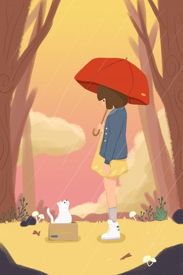 rain girl little red umbrella cat llustration image