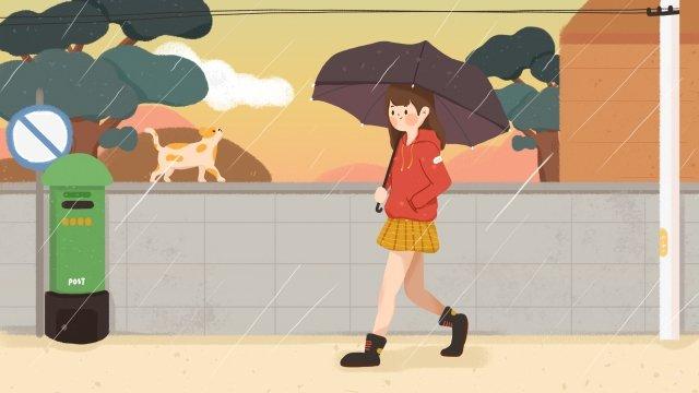 비 소녀 우산 고양이 삽화 소재