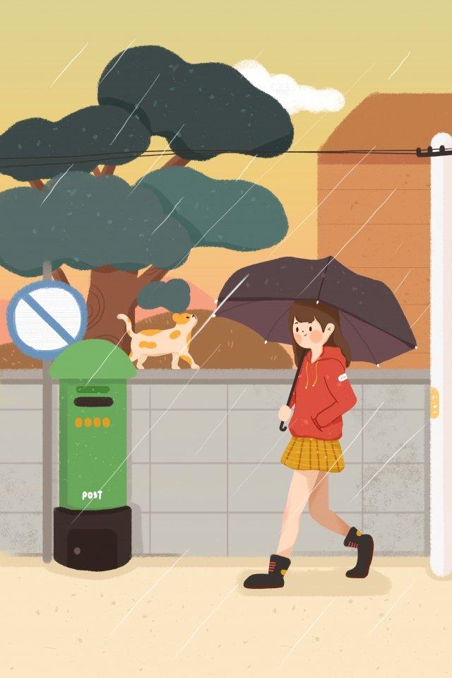 雨女の子傘猫 イラスト画像
