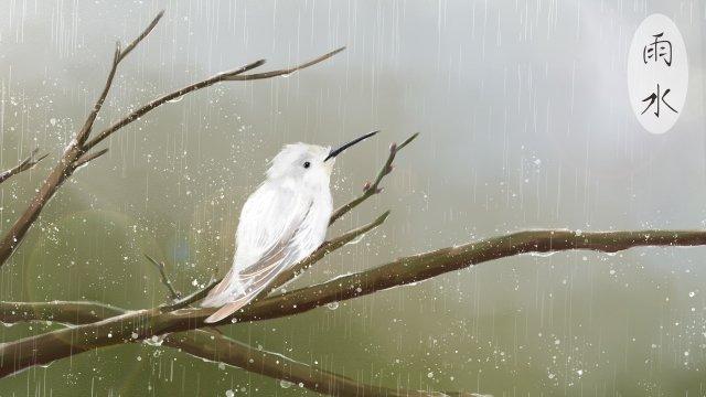ветка дождевой воды белая птица гу ю Ресурсы иллюстрации