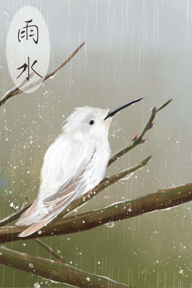 वर्षा जल शाखा सफेद पक्षी गु यू चित्रण छवि चित्रण छवि