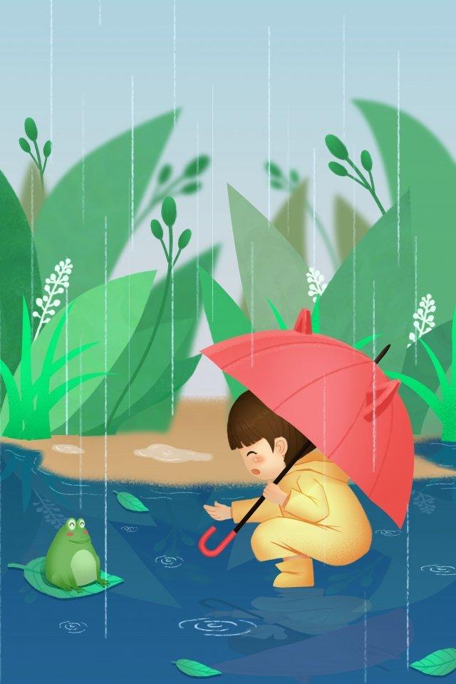 雨水雨傘カエル イラスト素材
