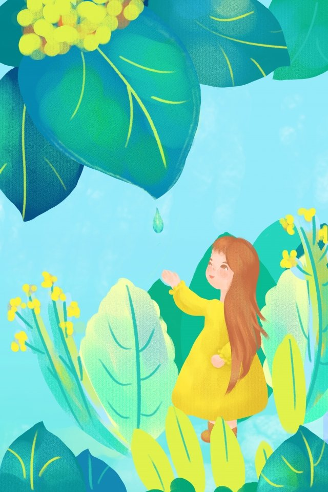 rainwater solar terms after the rain water droplets, Life, Green, Forest illustration image