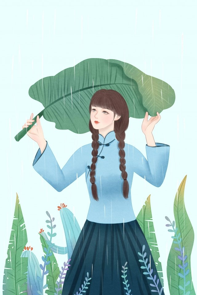 rainwater solar terms teenage girl republic of china, Plant, Rain, Rainwater illustration image