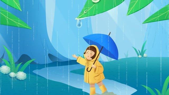 rainwater spring landscape light rain girl llustration image illustration image