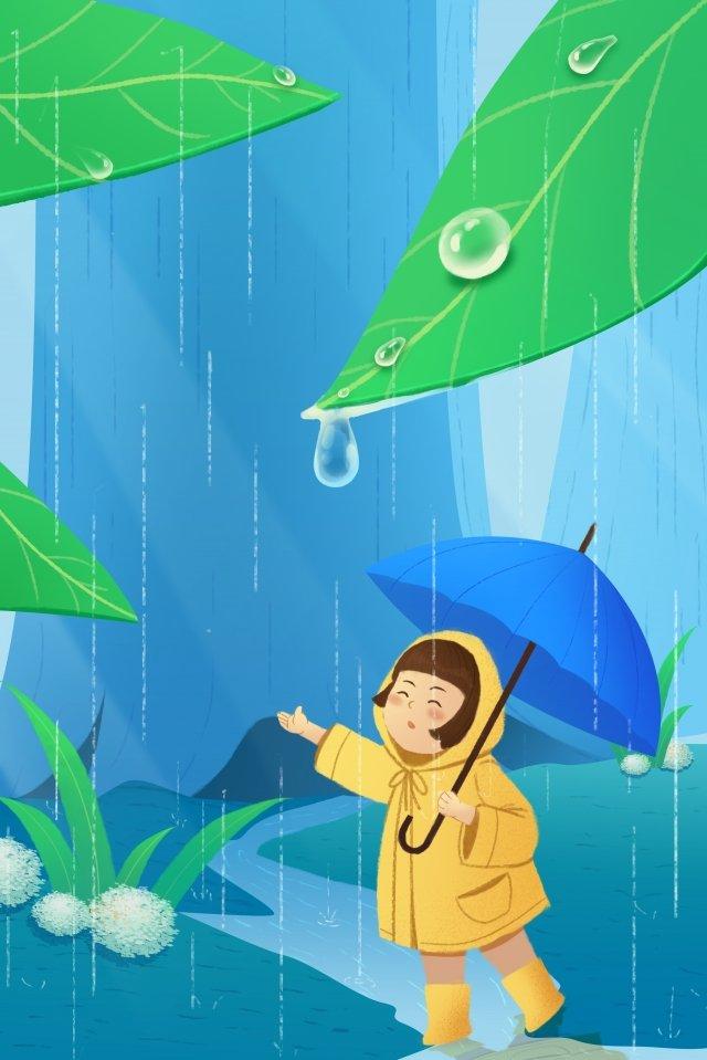 雨水春風景ライトレインガール イラストレーション画像