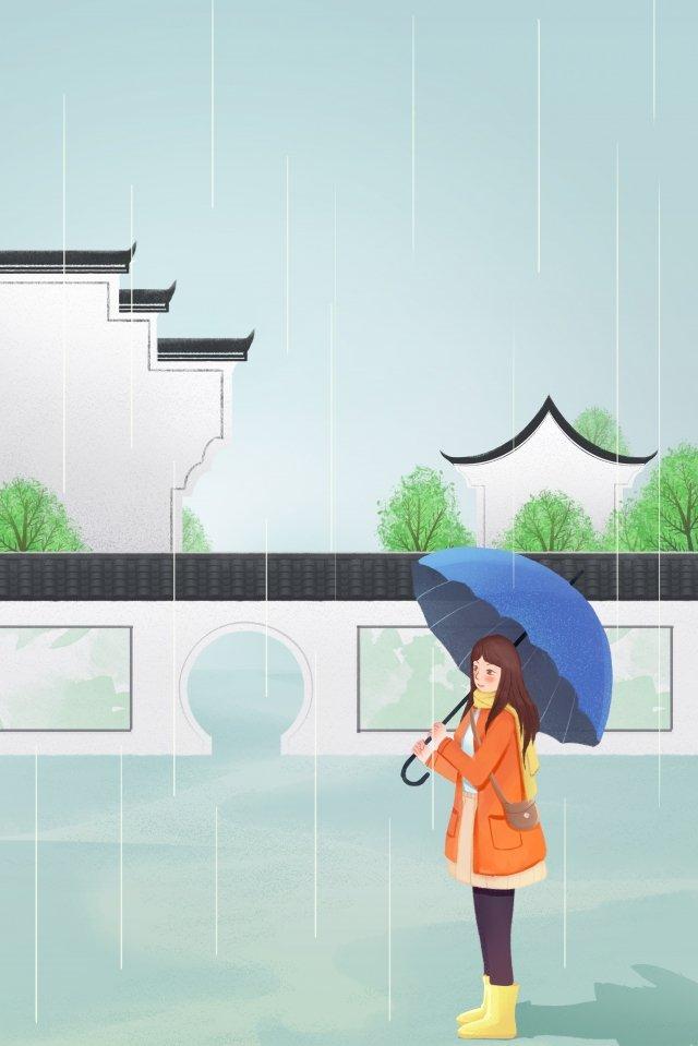 빗물 우산 소녀 작은 마을 삽화 소재
