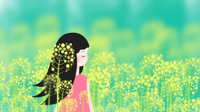 rape flower flower sea girl girl standing in the sea of ​​rapeseed llustration image illustration image