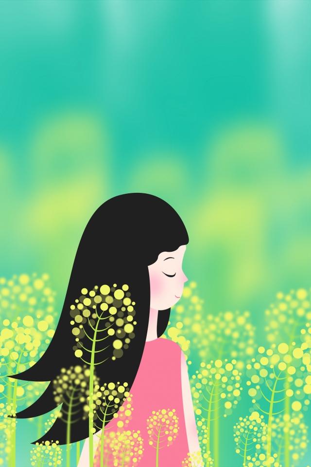 菜種の花花海の女の子女の子菜種の海に立っている女の子 イラストレーション画像
