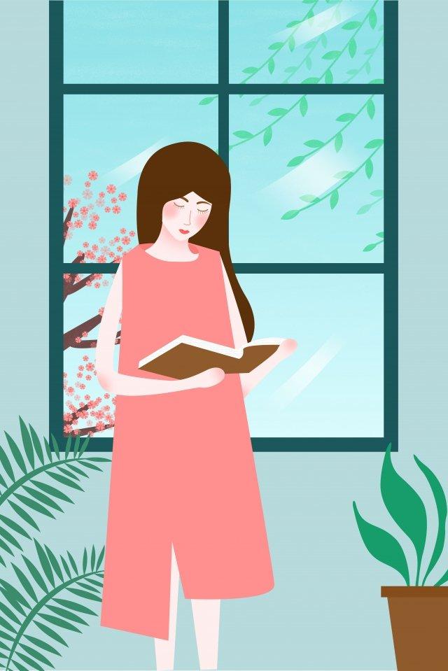 読書日世界本日女の子10代の少女 イラスト素材 イラスト画像