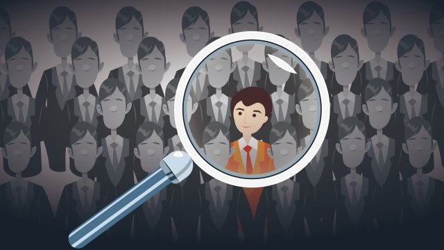 recruitment job hunting magnifier search, Recruitment, Job Hunting, Magnifier illustration image