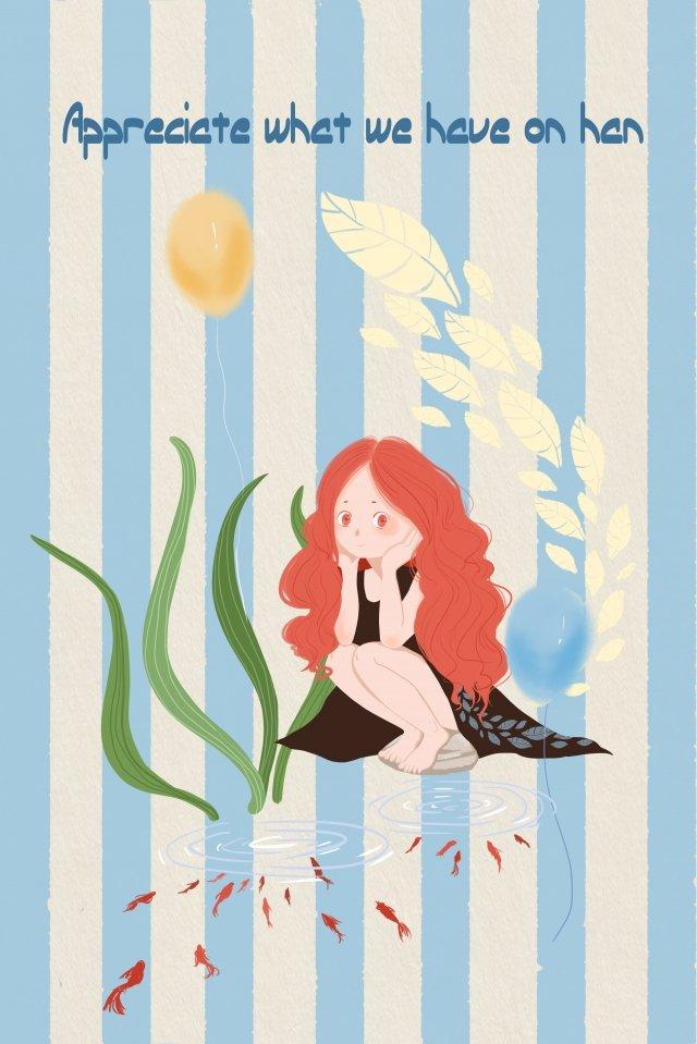 赤い髪優しい女の子かわいいイラスト魚 イラストレーション画像