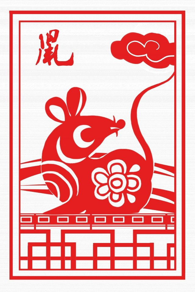 red paper cutting chinese style rat of the zodiac llustration image