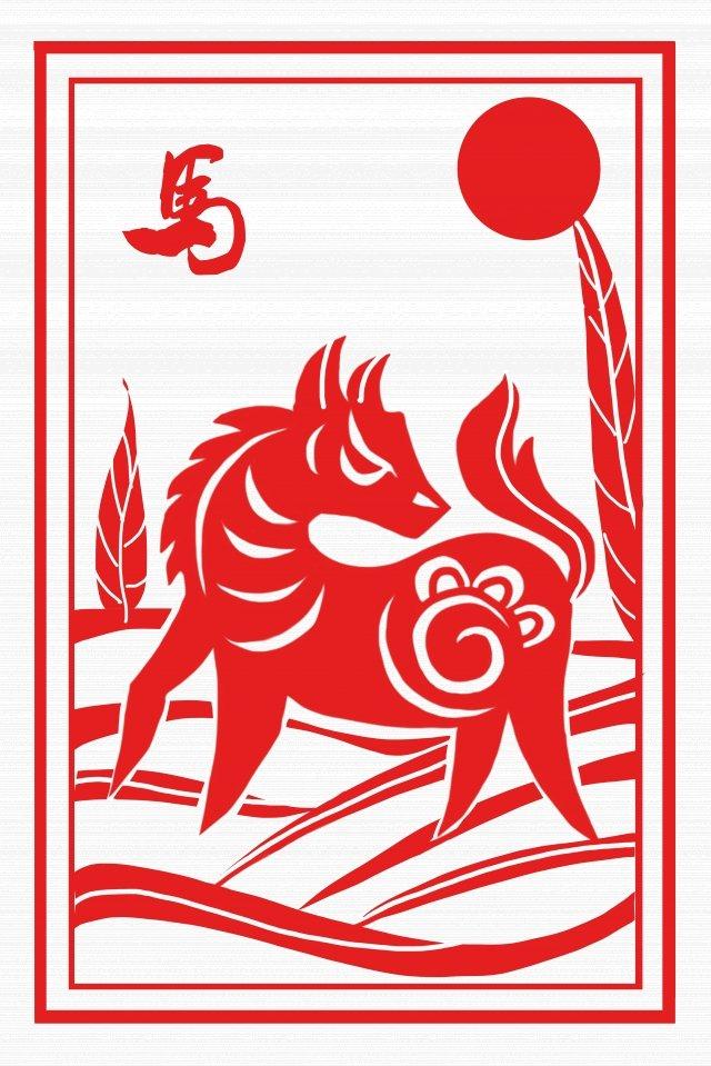corte de papel vermelho estilo chinês o cavalo do zodíaco Material de ilustração
