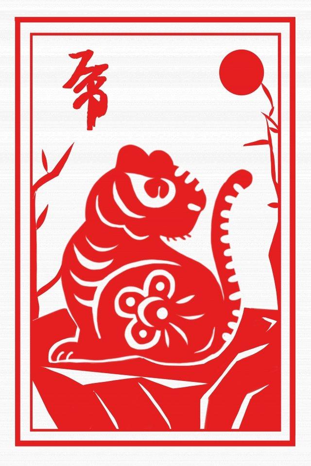 tigre de estilo chinês de corte de papel vermelho do zodíaco Material de ilustração