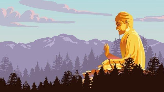 山の仏像を宗教秋 イラスト素材 イラスト画像