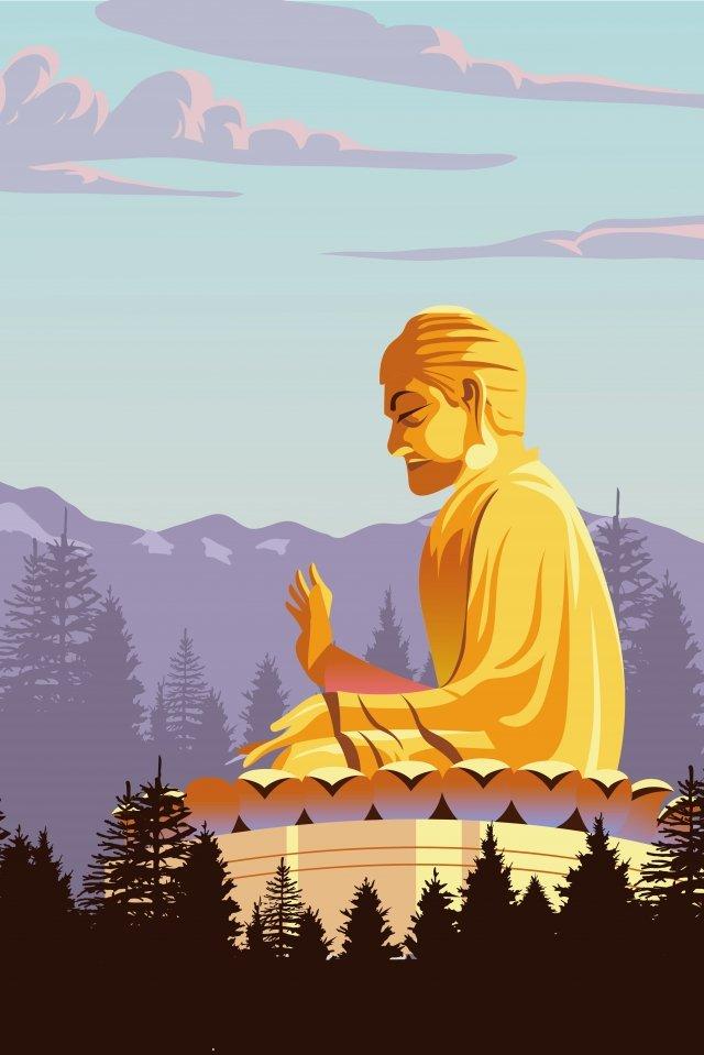 山の仏像を宗教秋 イラスト素材