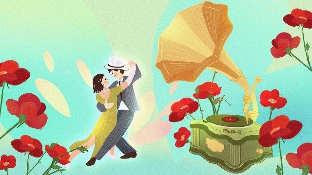 中国レトロなカップルの手描きの共和国 イラスト素材 イラスト画像