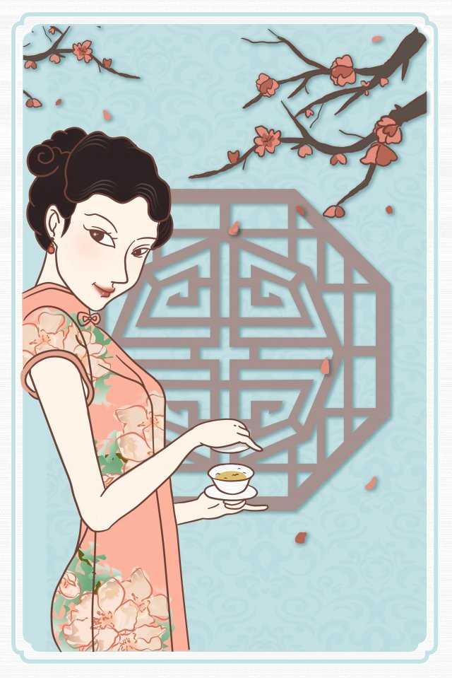 republic of china retro girl classical, Cheongsam, Beauty, Plum Blossom illustration image