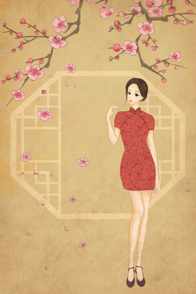 retro cheongsam republic of china girl, Plum Blossom, Retro, Cheongsam illustration image
