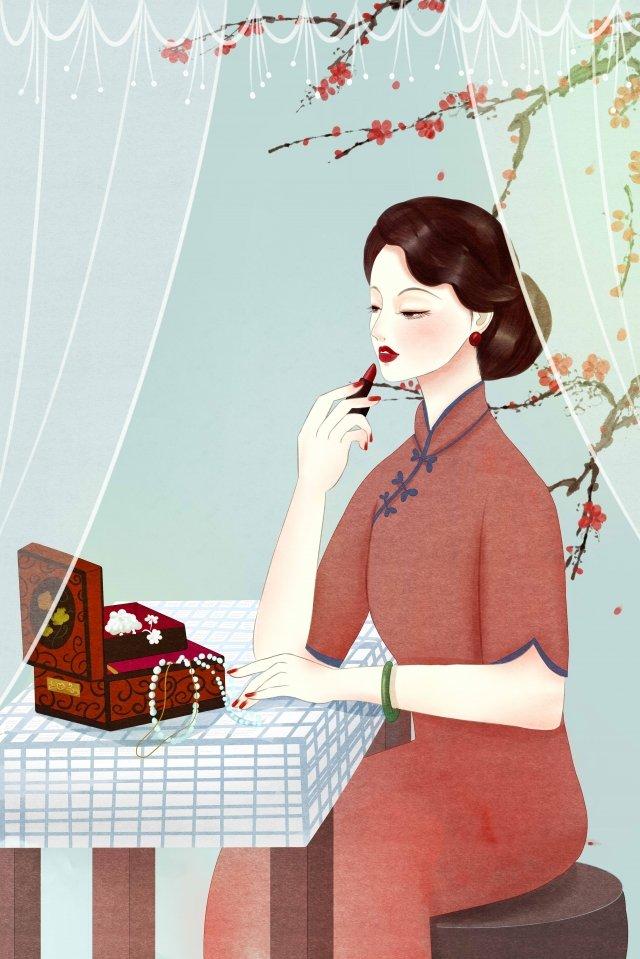 retro old shanghai foaming make up llustration image illustration image