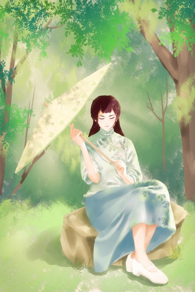 retro republic of china beautiful girl, Literary, Forest, Oil Paper Umbrella illustration image