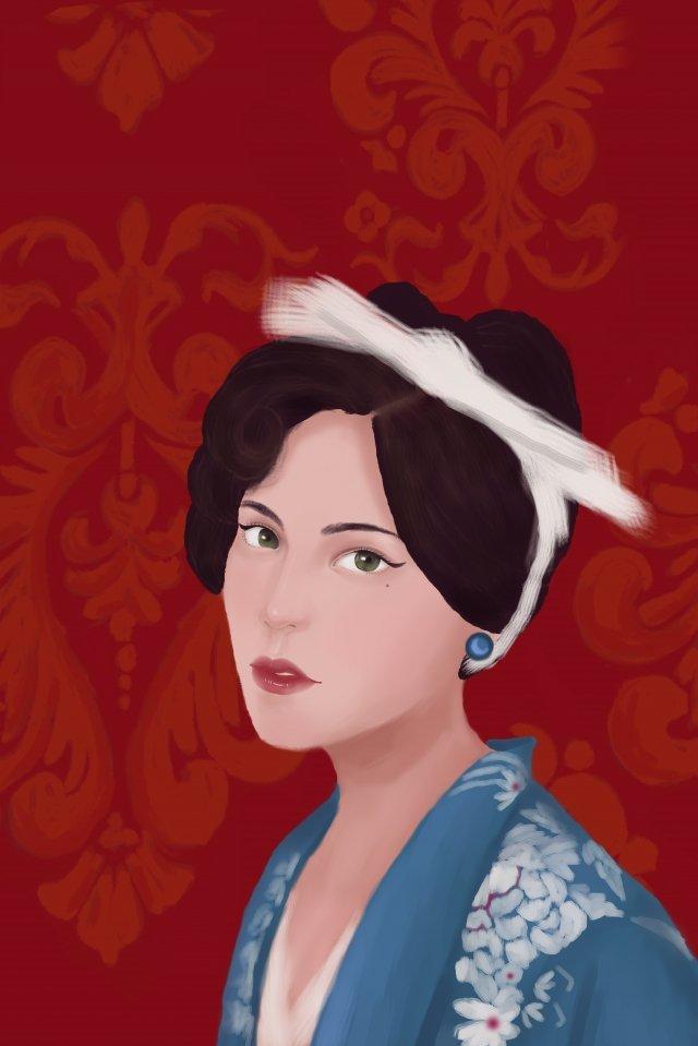 रेट्रो शैली लोक देश महिला हाथ चित्रण रेट्रो चीन गणराज्य किशोर लड़की लाल हाथगणराज्य  किशोर  लड़की पीएनजी और PSD illustration image
