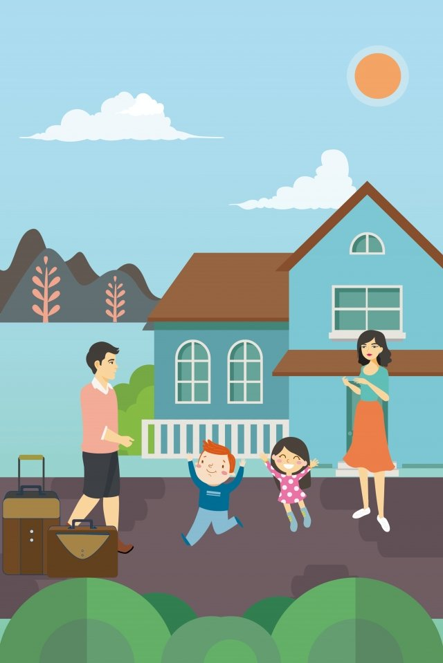 reunion come back home family excitement illustration image