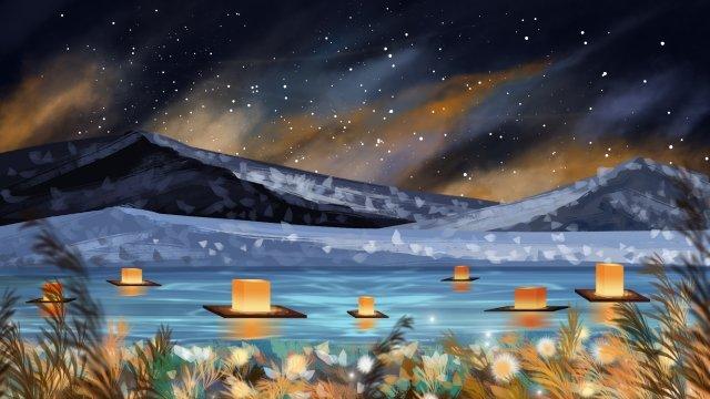 川光中原祭り祭り湖の表面 イラスト素材 イラスト画像