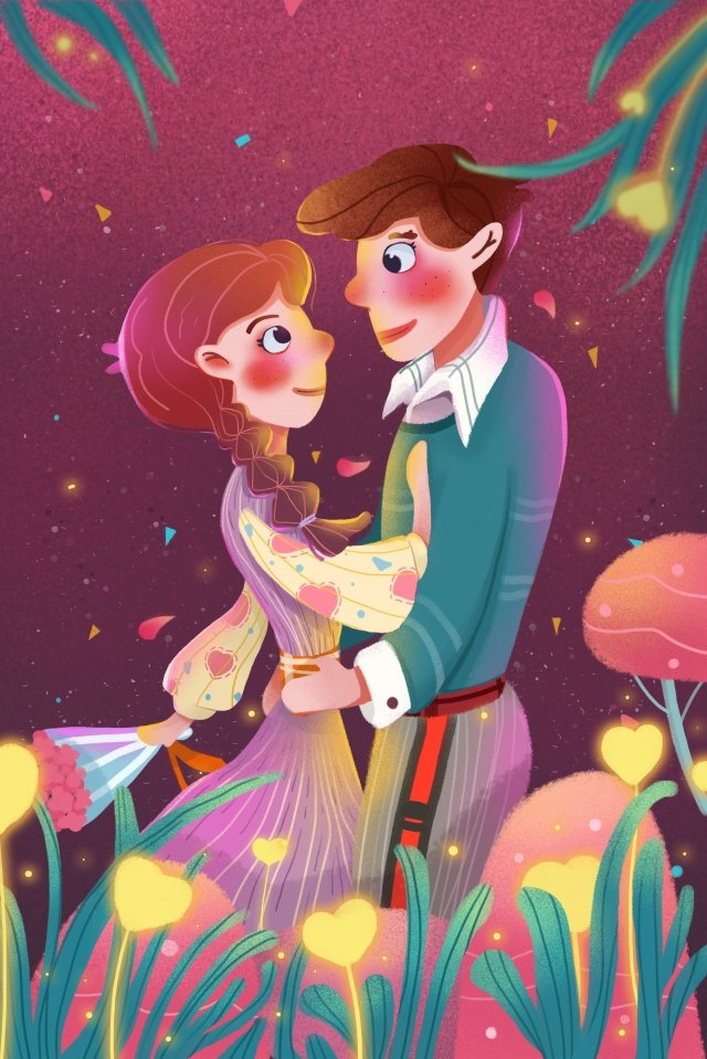 romantic beautiful flower sea lover, Couple, Appointment, Valentines Day illustration image