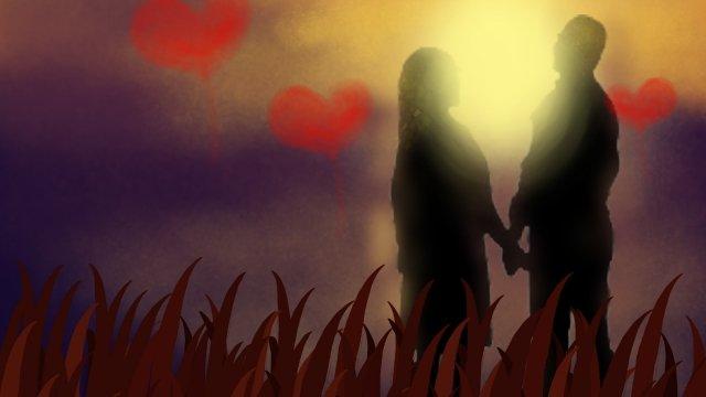 romantic dusk couple love llustration image illustration image