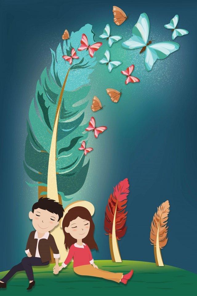 ツリーの結婚式博覧会の下でロマンチックな羽のカップル イラスト素材