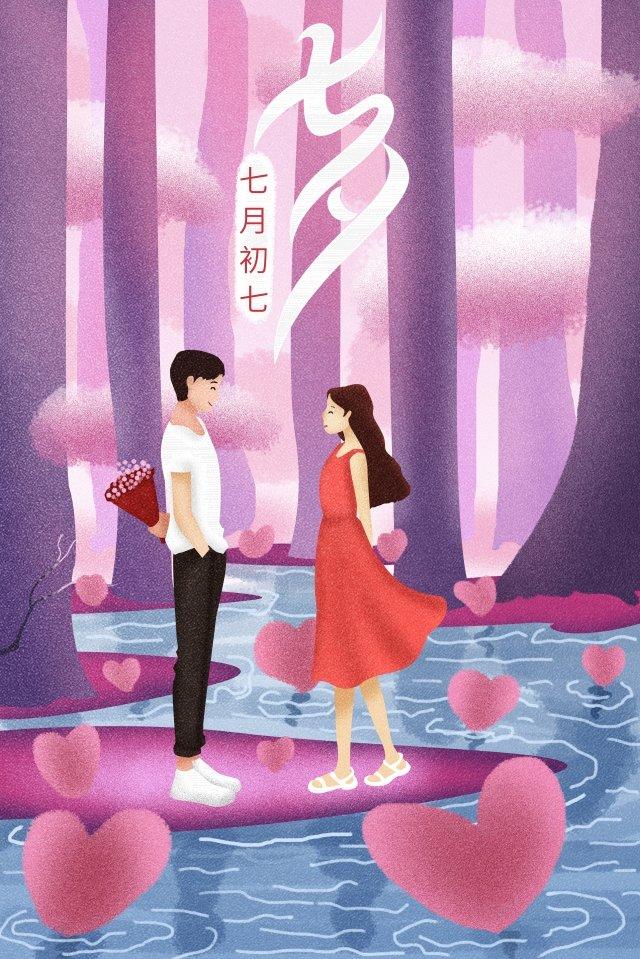 cartaz de ilustração romântica tanabata Material de ilustração